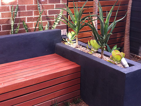 built in bench seat with plants